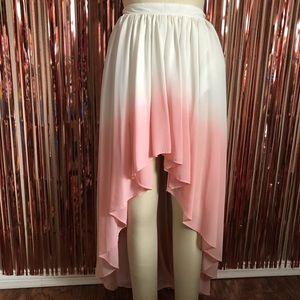 Pink Ombré High Low Skirt